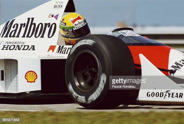 Ayrton Senna of Brazil drives the Honda Marlboro McLaren McLaren MP4/5 Honda RA109A V10 during practice for the Brazilian Grand Prix on 25th March...