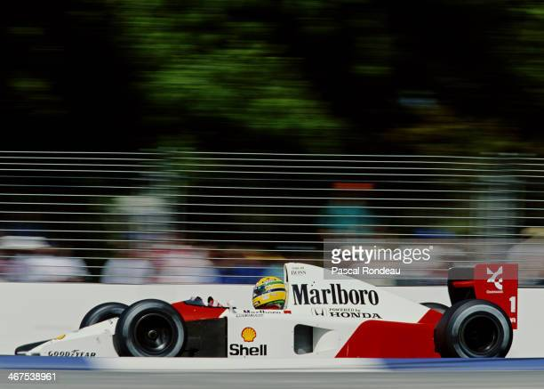 Ayrton Senna of Brazil drives the Honda Marlboro McLaren McLaren MP4/6 Honda V12 during practice for the Foster's Australian Grand Prix on 2nd...