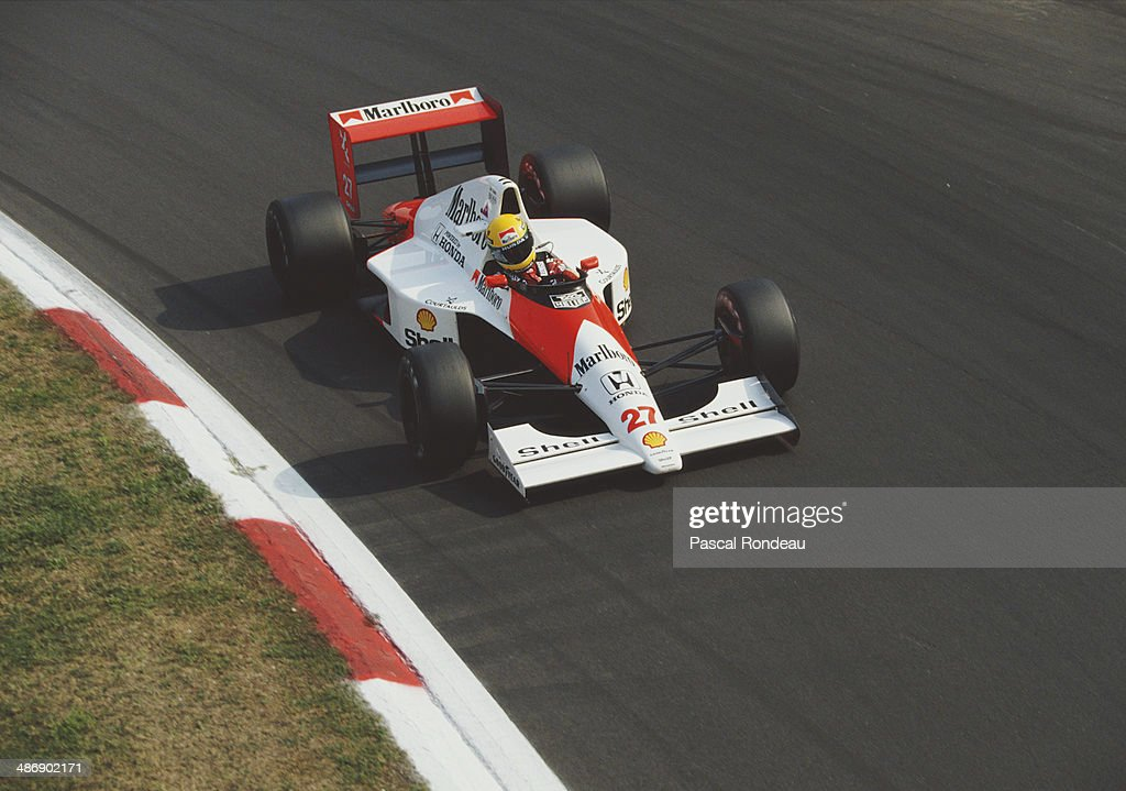 Ayrton Senna of Brazil drives the #27 Honda Marlboro McLaren McLaren MP4/5B Honda RA109E V10 during practice for the Italian Grand Prix on 8th September 1990 at the Autodromo Nazionale Monza near Monza, Italy.