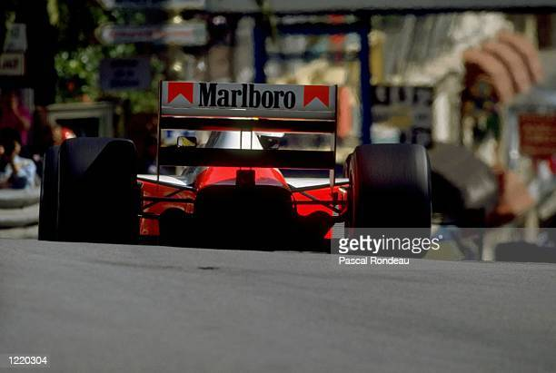 Ayrton Senna of Brazil in action in his McLaren Honda during the Monaco Formula One Grand Prix in Monte Carlo Monaco Ayrton Senna finished in first...