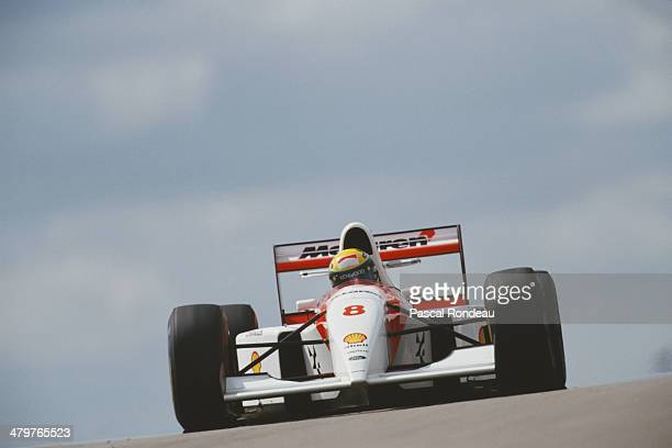 Ayrton Senna of Brazil drives the Marlboro McLaren McLaren MP4/8 Ford HBE7 V10 during practice for the Sega European Grand Prix on 10th April 1993 at...