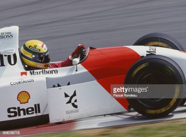 Ayrton Senna of Brazil drives the Marlboro McLaren McLaren MP4/8 Ford HBE7 V8 during practice for the Yellow Pages South African Grand Prix on 13...
