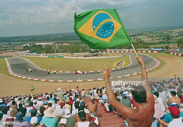 Ayrton Senna of Brazil drives the Marlboro McLaren McLaren MP4/8 Ford HBE7 V8 during the Yellow Pages South African Grand Prix on 14 March 1993 at...