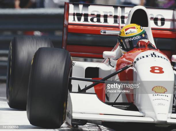 Ayrton Senna of Brazil drives the Marlboro McLaren McLaren MP4/8 Ford HBE7 V8 during practice for the Grand Prix of Monaco on 22 May 1993 on the...
