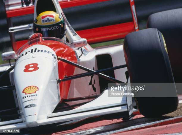 Ayrton Senna of Brazil drives the Marlboro McLaren McLaren MP4/8 Ford HBE7 V8 during the Belgian Grand Prix on 29 August 1993 at the Circuit de Spa...