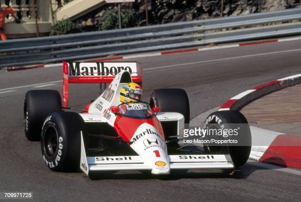 Ayrton Senna of Brazil enroute to first place driving a McLaren MP4/5 with a Honda RA109A 35 V10 engine for Team Honda Marlboro McLaren during the...