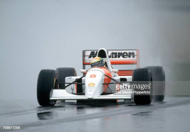 Ayrton Senna of Brazil enroute to first place driving a McLaren MP4/8 with a Ford HBE7 35 V8 engine for Marlboro McLaren during the European Grand...