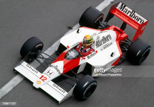 Ayrton Senna of Brazil in action driving a McLaren MP4/4 with a Honda RA168E 15 V6t engine for Team Honda Marlboro McLaren during the Monaco Grand...
