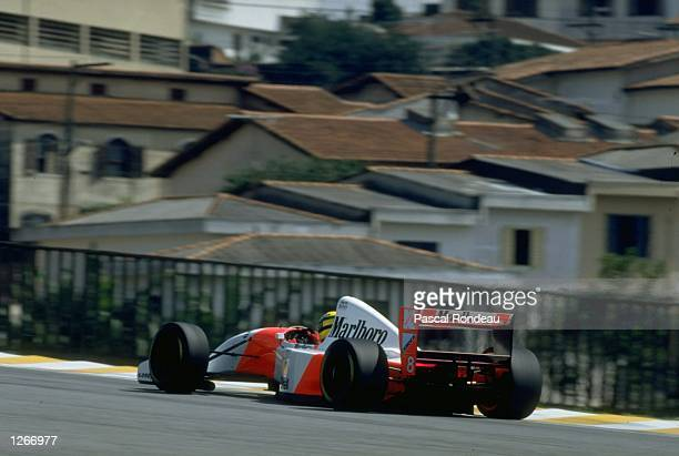 Ayrton Senna of Brazil in action in his McLaren Ford during the Brazilian Grand Prix at the Interlagos circuit in Sao Paulo, Brazil. Senna finished...