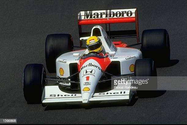 Ayrton Senna of Brazil in action in his McLaren Honda during the Hungarian Grand Prix at the Hungaroring circuit in Budapest Hungary Senna finished...