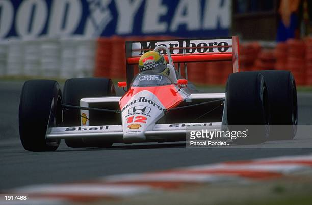 Ayrton Senna of Brazil in action in his McLaren Honda during the Belgian Grand Prix at the Spa circuit in Belgium Senna finished in first place...