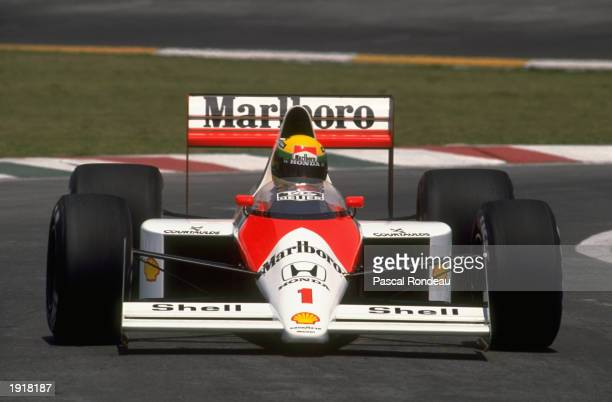 Ayrton Senna of Brazil in action in his McLaren Honda during the Mexican Grand Prix at the Mexico City circuit. Senna finished in first place. \...