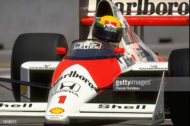 Ayrton Senna of Brazil in action in his McLaren Honda during the United States Grand Prix at the Phoenix circuit in Arizona USA Senna retired from...
