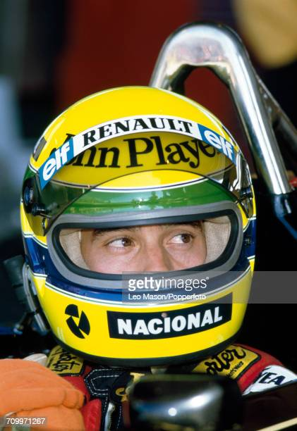 Ayrton Senna of Brazil in Formula One pictured in the driver's seat of the Lotus 98T with a Renault EF15 15B V6t engine for John Player Special Team...