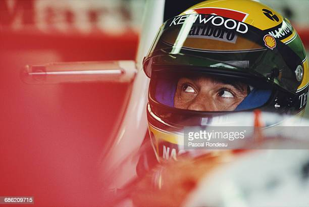 Ayrton Senna of Brazil sits aboard the Marlboro McLaren McLaren MP4/8 Ford HBE7 V10 during the Canadian Grand Prix on 13 June 1993 at the Montreal...