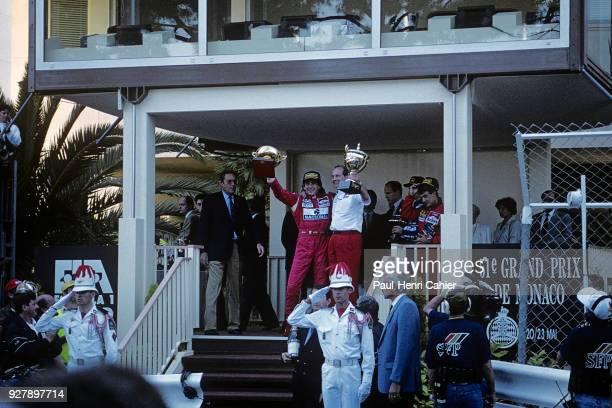 Ayrton Senna Ron Dennis Jean Alesi Grand Prix of Monaco Circuit de Monaco 23 May 1993 Ayrton Senna celebrating his victory in the 1992 Monaco Grand...