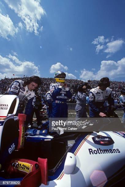 Ayrton Senna WilliamsRenault FW16 Grand Prix of Pacific Okayama International Circuit 17 April 1994 Ayrton Senna standing next to his WilliamsRenault...