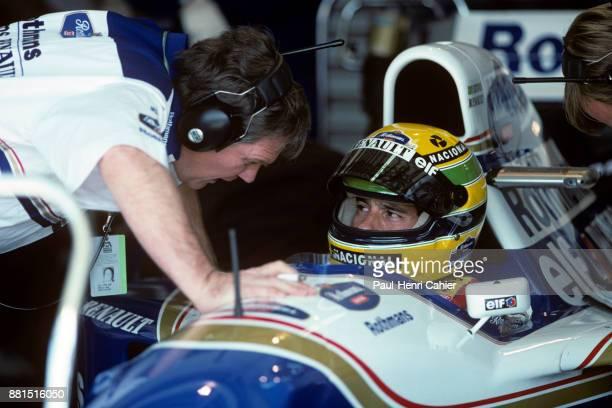 Ayrton Senna WilliamsRenault FW16 Grand Prix of Pacific Okayama International Circuit 17 April 1994 Ayrton Senna with Williams Engineering Director...