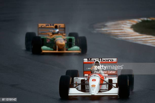 Ayrton Senna-Schumacher, McLaren-Ford MP4/8, Benetton-Ford B193A, Grand Prix of Brazil, Interlagos, 28 March 1993.