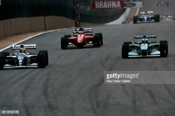 Ayrton SennaSchumacher WilliamsRenault FW16 Benetton B194 Grand Prix of Brazil Interlagos 27 March 1994