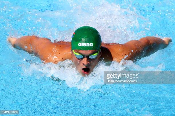 Ayrton Sweeney of South Africa competes during the Men's 400m Individual Medley Heat 1 on day two of the Gold Coast 2018 Commonwealth Games at Optus...