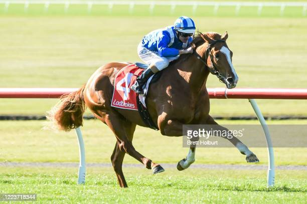 Aysar ridden by Luke Nolen wins the Ladbrokes Back Yourself Handicap at Ladbrokes Park Lakeside Racecourse on July 01, 2020 in Springvale, Australia.