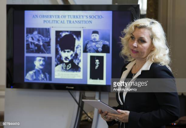 Ayse Bukulmeyen an author and a journalist makes a speech at the British embassy in the capital Ankara on March 5 2018 to mark the International...