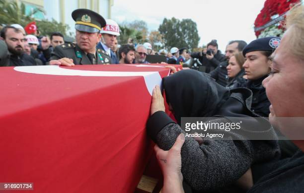 Ayse Habibe mother of Staff Captain Pilot Mehmet Ilker Karaman who was martyred during Turkey's counterterrorist operation in northern Syria mourns...
