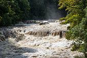 Aysgarth falls after heavy rain, North Yorkshire, England