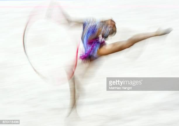Ayshan Bayramova of Azerbaijan competes during the Rhythmic Gymnastics Women's Individual Hoop Qualification of The World Games at Centennial Hall on...