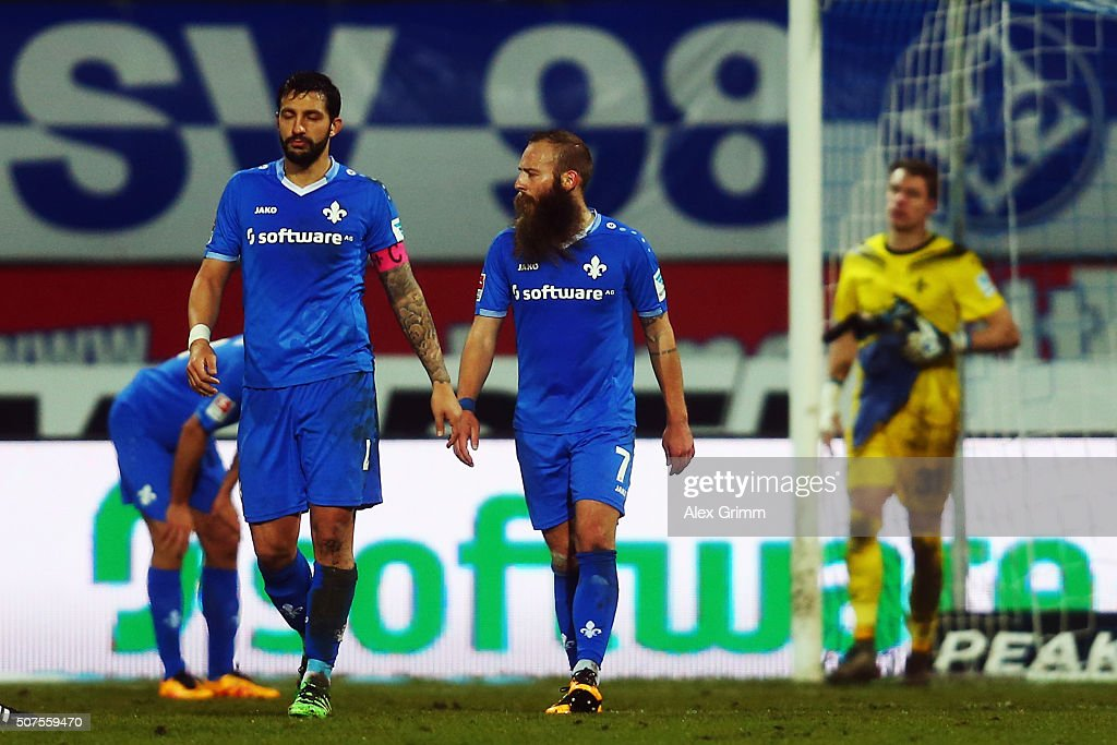 Aytac Sulu and Marco Sailer of Darmstadt react after the Bundesliga match between SV Darmstadt 98 and FC Schalke 04 at Merck-Stadion am Boellenfalltor on January 30, 2016 in Darmstadt, Germany.