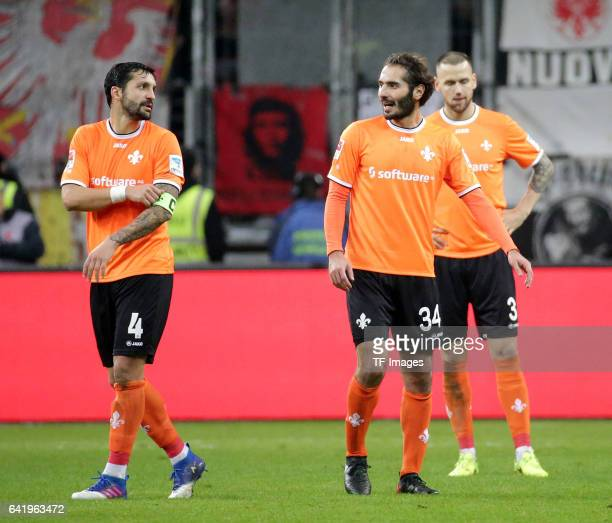 Aytac Sulu of Darmstadt and Hamit Altintop of Darmstadt and Alexander Milosevic of Darmstadt looks on during the Bundesliga match between Eintracht...