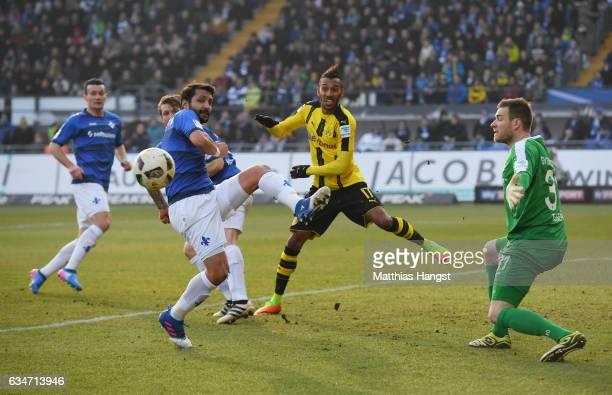 Aytac Sulu of Darmstadt blocks a ball against PierreEmerick Aubameyang of Dortmund during the Bundesliga match between SV Darmstadt 98 and Borussia...