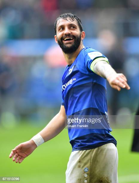Aytac Sulu of Darmstadt celebrates after the Bundesliga match between Hamburger SV and SV Darmstadt 98 at Volksparkstadion on April 22 2017 in...