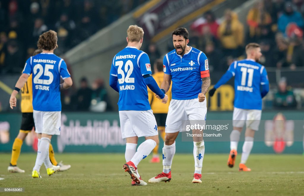 Aytac Sulu of Darmstadt celebrates after the Second Bundesliga match between SG Dynamo Dresden and SV Darmstadt 98 at DDV-Stadion on March 2, 2018 in Dresden, Germany.