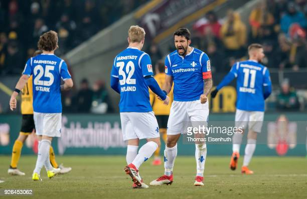 Aytac Sulu of Darmstadt celebrates after the Second Bundesliga match between SG Dynamo Dresden and SV Darmstadt 98 at DDVStadion on March 2 2018 in...