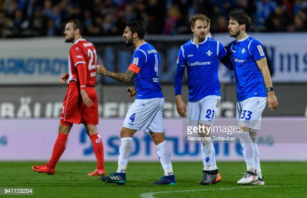Aytac Sulu of Darmstadt celebrates the victory during the Second Bundesliga match between SV Darmstadt 98 and Fortuna Duesseldorf at...