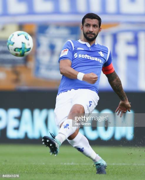 Aytac Sulu of Darmstadt controls the ball during the Second Bundesliga match between SV Darmstadt 98 and VfL Bochum 1848 at MerckStadion am...