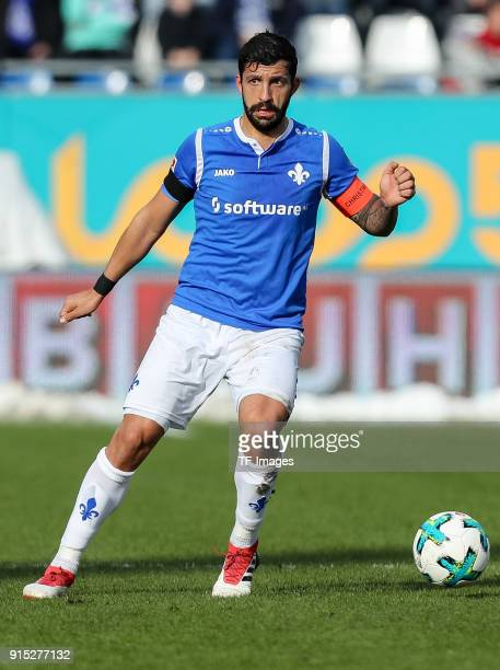 Aytac Sulu of Darmstadt controls the ball during the Second Bundesliga match between SV Darmstadt 98 and MSV Duisburg at MerckStadion am...