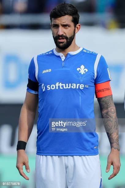 Aytac Sulu of Darmstadt looks on during the Second Bundesliga match between SV Darmstadt 98 and MSV Duisburg at MerckStadion am Boellenfalltor on...