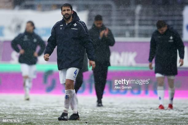 Aytac Sulu of Darmstadt reacts after the Second Bundesliga match between SV Darmstadt 98 and SSV Jahn Regensburg at MerckStadion am Boellenfalltor on...