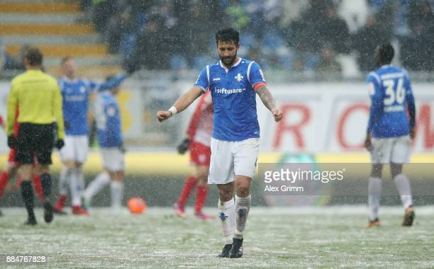 Aytac Sulu of Darmstadt reacts after the Second Bundesliga match between SV Darmstadt 98 and SSV Jahn Regensburg at MerckStadion am Boellenfalltor on...