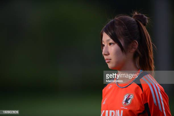 Ayu Nakada of Japan looks on during the training session at Izumi Football Field on August 20 2012 in Sendai Japan