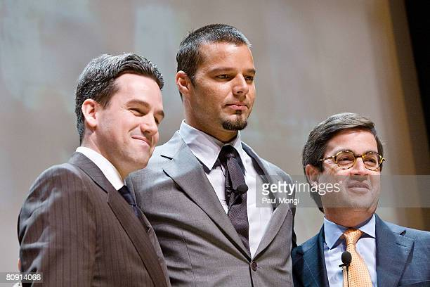 Ayuda Executive Director Mauricio Vivero, singer Ricky Martin and IDB President Luis Alberto Moreno hold a press conference to launch a campaign that...
