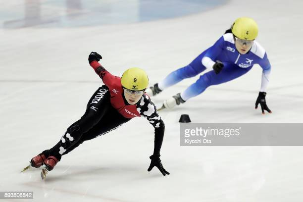 Ayuko Ito and Yuki Kikuchi compete in the Ladies' 500m Semifinal during day one of the 40th All Japan Short Track Speed Skating Championships at...