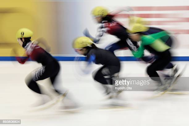 Ayuko Ito competes in the Ladies' 500m Quarterfinal during day one of the 40th All Japan Short Track Speed Skating Championships at Nippon Gaishi...