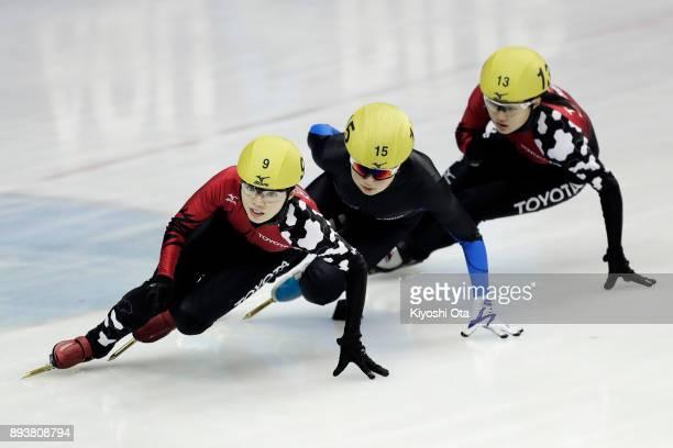 Ayuko Ito Miwako Yamaura and Seina Yokoyama compete in the Ladies' 500m Quarterfinal during day one of the 40th All Japan Short Track Speed Skating...