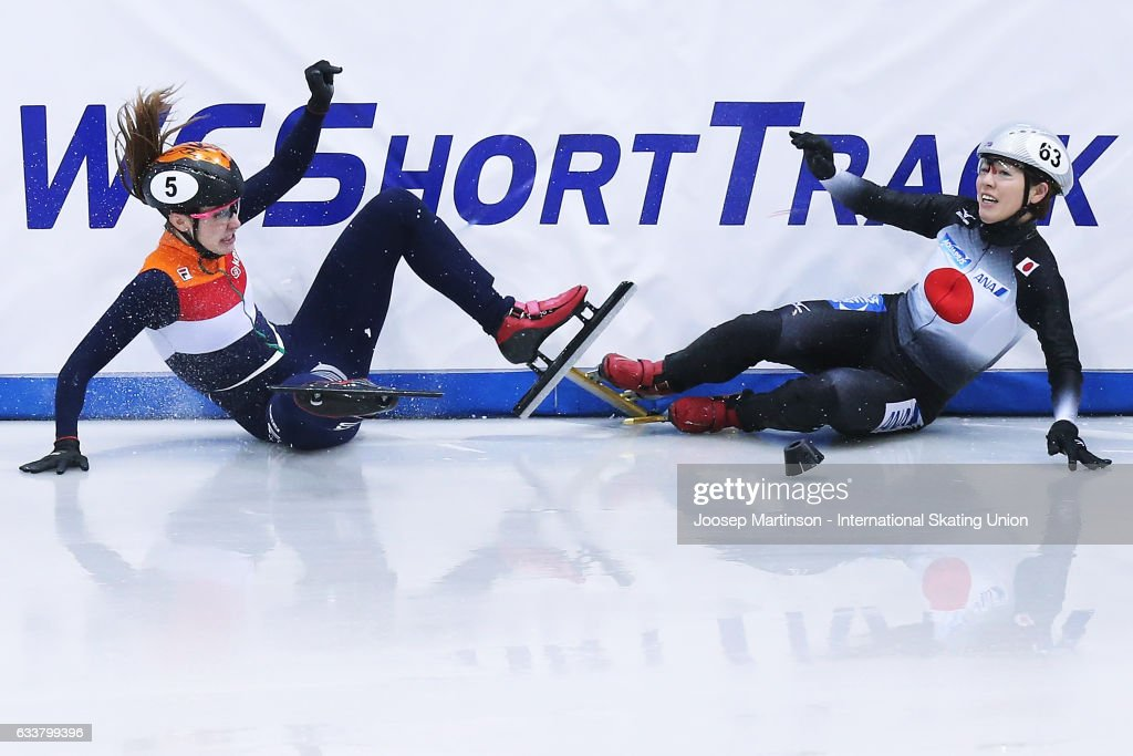 Ayuko Ito of Team Japan and Suzanne Schulting of Team Netherlans crash in the Ladies 3000m relay semi finals during day one of the ISU World Cup Short Track at EnergieVerbund Arena on February 4, 2017 in Dresden, Germany.