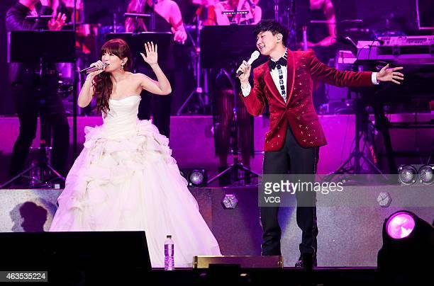 Ayumi Hamasaki attends JJ Lin's live concert at Taipei Arena on February 15 2015 in Taipei Taiwan of China