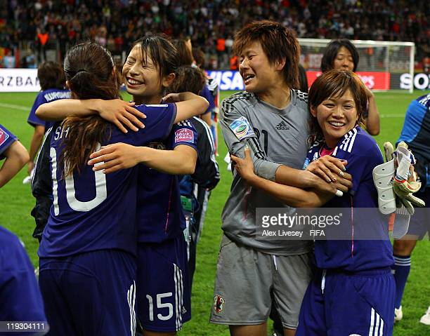 Ayumi Kaihori of Japan celebrates with Nahomi Kawasumi after victory against USA in the penalty shoot out of the FIFA Women's World Cup Final match...